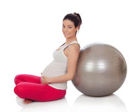 Beautiful pregnant woman doing exercise Stock Images