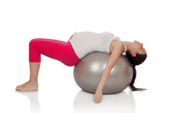 Beautiful pregnant woman doing exercise Stock Image