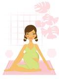 Beautiful pregnant woman doing yoga Stock Photos