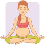 Beautiful Pregnant Woman Doing Yoga Stock Images
