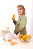Beautiful Pregnant Woman Drinking Orange Juice Stock Photos