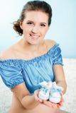 Beautiful pregnant woman expecting baby Stock Photos