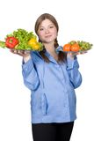 Beautiful pregnant woman with fruit and vegetables Royalty Free Stock Photography