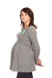 Beautiful pregnant woman in a gray jumper Royalty Free Stock Image
