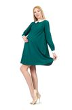 Beautiful pregnant woman in green dress isolated Royalty Free Stock Photo