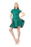 Beautiful pregnant woman in green dress isolated Royalty Free Stock Images