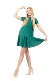 Beautiful pregnant woman in green dress Stock Images