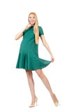 Beautiful pregnant woman in green dress isolated Stock Photos