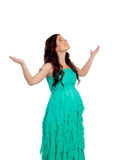 Beautiful pregnant woman with green dress Stock Photo