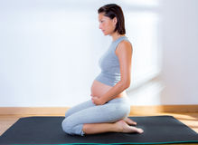 Beautiful pregnant woman gym fitness exercise Royalty Free Stock Photos