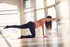 Beautiful pregnant woman gym fitness exercise Royalty Free Stock Images