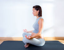 Beautiful pregnant woman at gym fitness yoga Stock Photo