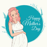Beautiful pregnant woman. happy mothers day. Vector illustration. Royalty Free Stock Photo