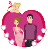 Beautiful pregnant woman and her happy husband Royalty Free Stock Images