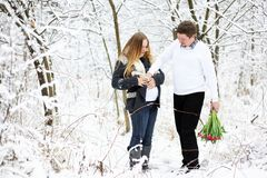 Beautiful pregnant woman and her husband outdoors Stock Photos
