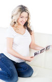Beautiful pregnant woman holding ultrasound scans Stock Image