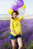 Beautiful pregnant woman in the lavender field Stock Photo