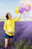 Beautiful pregnant woman in the lavender field Royalty Free Stock Images