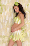 Beautiful pregnant woman in lingerie from cabbage Royalty Free Stock Photos