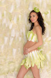 Beautiful pregnant woman in lingerie from cabbage Stock Photo