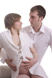 Beautiful pregnant woman and man Stock Photos
