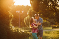 Beautiful pregnant woman and man couple in love Stock Images