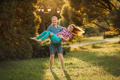 Beautiful pregnant woman and man couple in love Royalty Free Stock Photos