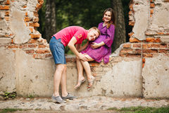 Beautiful pregnant woman and man couple in love Stock Photo