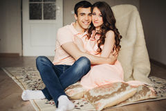 Beautiful pregnant woman and man couple in love Stock Photos