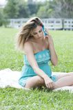 Beautiful Pregnant Woman in a meadow Stock Photos