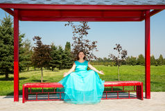 Beautiful pregnant woman meditating with big belly Royalty Free Stock Photos
