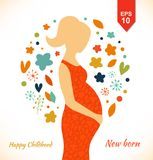 Beautiful pregnant woman in ornate dress. Happy childhood. New born. Cute banner with isolated young mother silhouette stock illustration