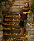 Beautiful pregnant woman outdoor in park on autumn afternoon wit stock photo