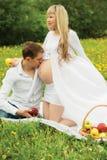 Beautiful pregnant woman outdoor Royalty Free Stock Photos