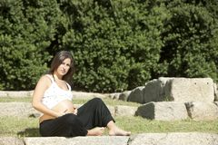 Beautiful pregnant woman relaxing Royalty Free Stock Images