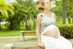 Beautiful pregnant woman relaxing on the bench Stock Photos