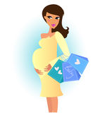 Beautiful pregnant woman on shopping. Pregnant woman with shopping bags. Vector Illustration Stock Photo