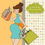 Beautiful pregnant woman on shopping Royalty Free Stock Photos