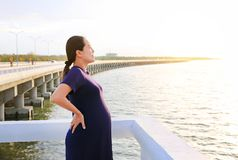 Beautiful pregnant woman standing on seashore with looking out.  stock photo