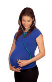 Beautiful pregnant woman with a stethoscope Royalty Free Stock Photography