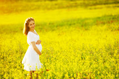 Beautiful pregnant woman in summer nature meadow with yellow flo stock image
