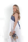Beautiful pregnant woman with toy bear Royalty Free Stock Image
