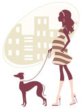Beautiful pregnant woman walkig with grayhound Stock Photo