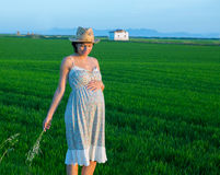 Beautiful pregnant woman walking outdoor nature Stock Photos