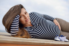 Beautiful pregnant  woman Stock Photos