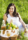 Beautiful pregnant woman in white in the spring park Royalty Free Stock Images