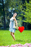 Beautiful Pregnant Woman With A Red Heart Royalty Free Stock Photo