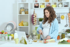 Free Beautiful Pregnant Woman With    Food Stock Image - 78309701