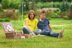 Beautiful pregnant woman with young happy man Royalty Free Stock Image
