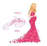 Beautiful pregnant women in flowery dress. Mothers Day greeting card with lettering. Spring holidays Stock Photography